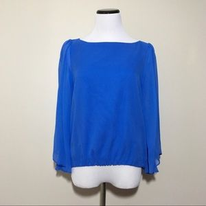 Alice + Olivia Bell Sleeve Silk Blouse